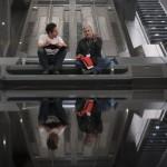 Star Wars: The Force Awakens  L to R: Director/Producer/Screenwriter J.J. Abrams and Screenwriter Lawrence Kasdan on set.  Ph: David James  ©Lucasfilm 2015